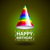 pic of birthday hat  - Happy birthday background with party hat photo realistic vector - JPG
