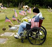 Disabled Vet At Grave Site