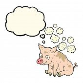 foto of smelly  - cartoon smelly pig with thought bubble - JPG