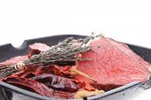 picture of cayenne pepper  - raw beef meat fillet on bbq pan with cayenne pepper isolated on white background - JPG