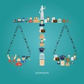 image of scales justice  - Justice concept with law icons in scales shape flat vector illustration - JPG