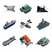 stock photo of military personnel  - Military equipment isometric icons set with submarine fighter aircraft tank isolated vector illustration - JPG