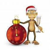 foto of ball cap  - Funny monkey with a santa hat and a glass of wine and watch in the shape of a ball indicating the approach of the new year - JPG