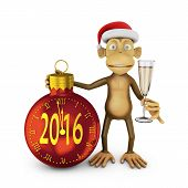 image of ball cap  - Funny monkey with a santa hat and a glass of wine and watch the ball in the form indicate the approach of a new 2016 - JPG