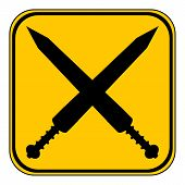 stock photo of crossed swords  - Crossed gladius swords button on white background - JPG