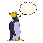 stock photo of emperor  - cartoon emperor penguin with thought bubble - JPG