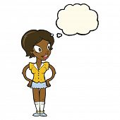 foto of short skirt  - cartoon happy woman in short skirt with thought bubble - JPG