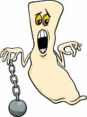picture of funny ghost  - Cartoon Illustration of Funny Ghost Halloween or Fantasy Character with Chain - JPG