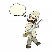 picture of hunter  - cartoon big game hunter with thought bubble - JPG
