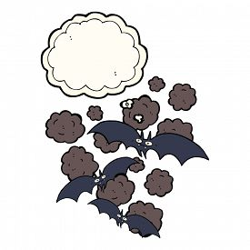 stock photo of vampire bat  - cartoon vampire bats with thought bubble - JPG