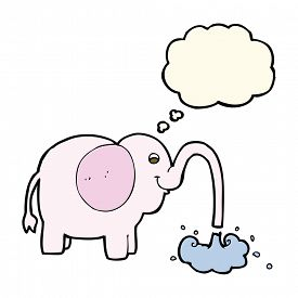 pic of squirt  - cartoon elephant squirting water with thought bubble - JPG