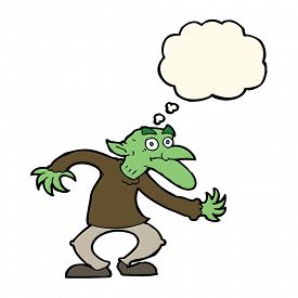 picture of goblin  - cartoon goblin with thought bubble - JPG