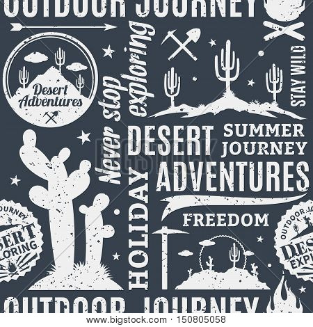 Retro Styled Typographic Vector Desert Adventures Seamless Pattern Or Background