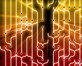 Abstract wallpaper illustration of electronic circuitry patterns