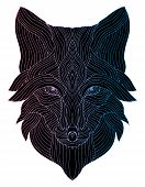 Portrait Of A Wolf. The Dogs Head. Line Art. Black And White Drawing By Hand. Stylized. Decorative. poster