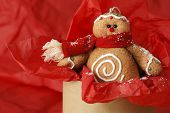 Stuffed gingerbread man ornament (made of fabric to look like a cookie) displayed popping up out of box filled with red tissue paper and sprinkled with snow glitter.  Macro image with shallow dof