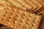 Macro image of whole grain snack crackers with shallow dof
