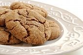 Freshly baked ginger cookies on decorative vintage plate.  Macro with shallow dof.