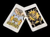 Tarot cards lover and the devil with ring