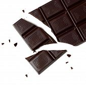 Delicious dark chocolate bar isolated