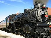 picture of old-fashioned  - A photograph of an old steam locomotive - JPG