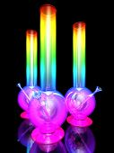image of bong  - Three bongs isolated on black background 3D rendering - JPG