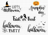 Постер, плакат: Halloween lettering phrases set Halloween greeting cards design Halloween banner or poster with quo