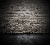 stock photo of brick block  - old room with brick wall - JPG