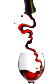 picture of wine-glass  - Pouring red wine in glass goblet isolated on white - JPG