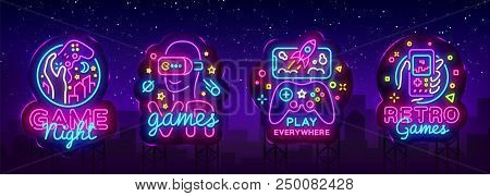 poster of Video Games Logos Collection Neon Sign Vector Design Template. Conceptual Vr Games, Retro Game Night