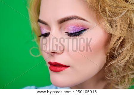 Closeup Portrait Of Womens Makeup