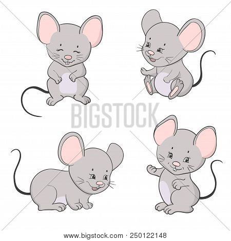 Set Of Cute Little Cartoon Mice Vector Mouse Collection