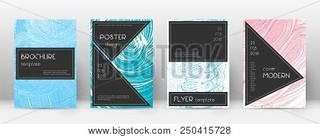 poster of Cover Page Design Template. Black Brochure Layout. Awesome Trendy Abstract Cover Page. Pink And Blue