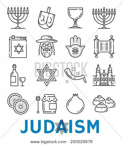 Judaism Symbols Of Jewish Religious Thin Line Art Icons Vector