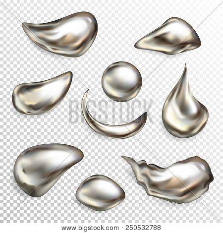 Metal Silver Droplets Vector Illustration