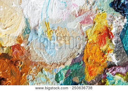poster of Hand Drawn Oil Painting, Abstract Art Background, Oil Painting On Canvas, Color Texture, Fragment Of