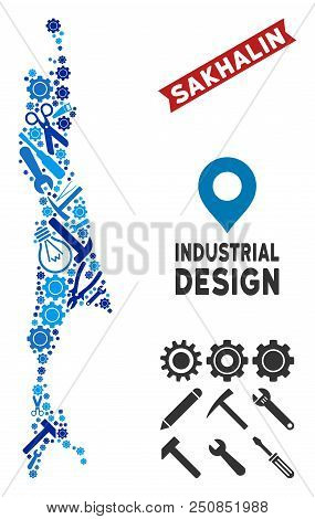 Industrial Sakhalin Island Map Composition