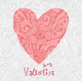 Sketchy Doodle Heart and Swirls of Valentine's Day.  Vector Illustration