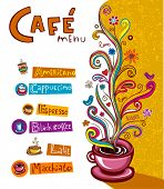Coffee Background. Illustration which may be used as menu cover or card