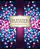 Vintage invitation on glittering background
