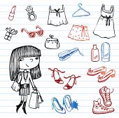 Girl of fashion doodle set.  Set of hand-drawn images of youth culture.