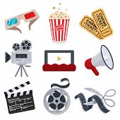 Cinema Icons Set In Flat Style. Movie Industry Objects. Colorful Cinema Illustrations Isolated On Wh poster