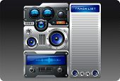 Blue analog retro mp3 player