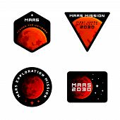 Постер, плакат: Mars Mission Emblems Concept Mars Exploration Logos In Colored Modern Style Mars Colonization Badg