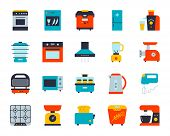 Kitchen Appliance Flat Icons Set. Web Sign Kit Of Equipment. Electronics Pictogram Collection Includ poster