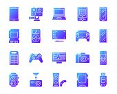 Device Silhouette Icons Set With Reflection. Color Web Sign Kit Of Gadget. Electronics Vector Pictog poster