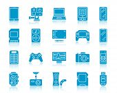 Device Silhouette Icons Set. Web Sign Kit Of Gadget. Electronics Monochrome Pictogram Collection Inc poster