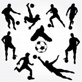 stock photo of substitutes  - Hand Drawn Soccer Players Silhouette - JPG
