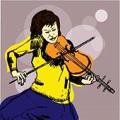Hand Drawn Illustration of a Cellist