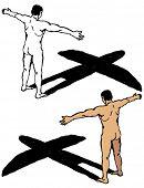 handgezeichnete Abbildung eines Mannes mit Schatten, geformt wie ein Flugzeug